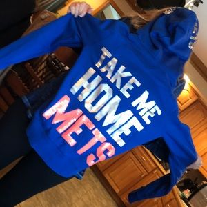Pink new york mets sweater with sequence